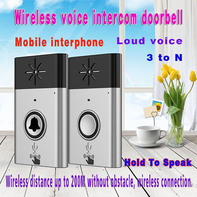 Silver 2.4G Wireless Voice Intercom Doorbells LED Indoor Outdoor Security System