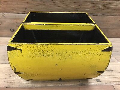 Large Yellow Antique Traditional Chinese Wood Square Rice Bucket With Handle