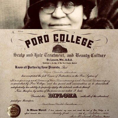 1927 Poro Diploma, Annie Malone, Madam CJ Walker, Hair, Black Beauty Barbershop