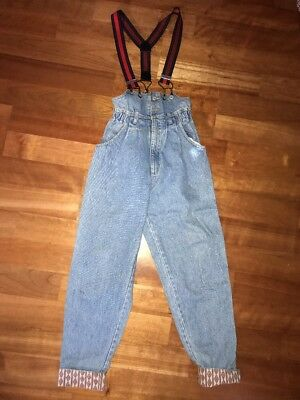 RETRO VINTAGE LEE Mom High Waisted Denim/Jean Overalls Size 9 SUSPENDERS