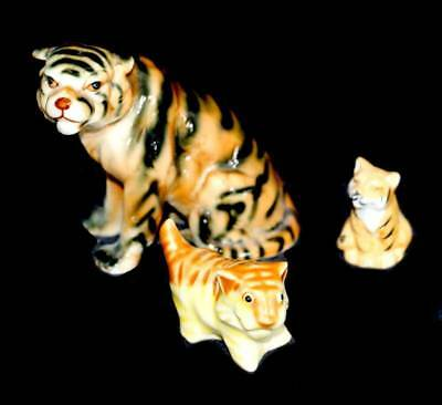 Vintage group of three ceramic china tiger big cat ornament figurines