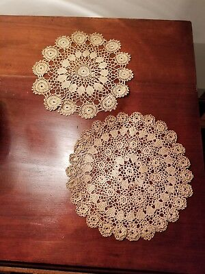 "Two Hand made  Vintage Doilies 8"" round"