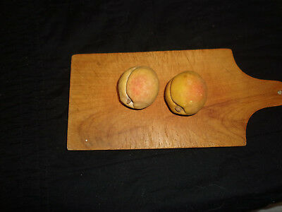 Antique Hand Carved Alabaster or Marble Pair of Peaches or Nectarines