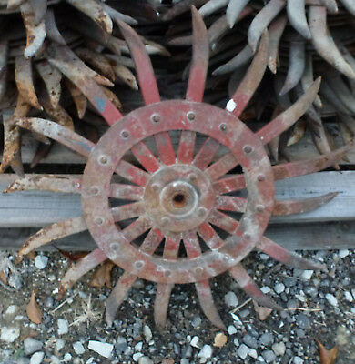 Rotary Hoe Wheel primitive yard garden lawn snowflake flower spiked iron IH