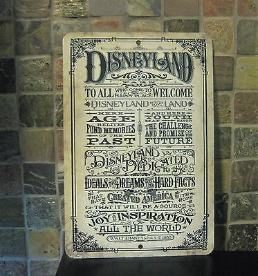 DISNEYLAND Retro Vintage Look Reproduction Walt Disney July 17,1955 Metal Sign!