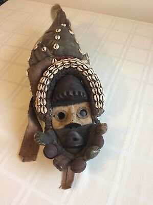 Rare Antique Hooded Mask Cowrie Shells African Art