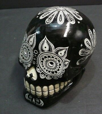 GEOMETRIC Sugar Skull COIN BANK B&W/ Mexican Day of the Dead Gift Home decor