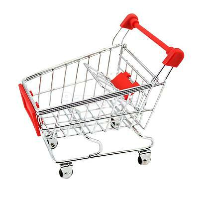 Mini Shopping Handcart Trolley Home Office Decor Kid Pretend Play Toy Red