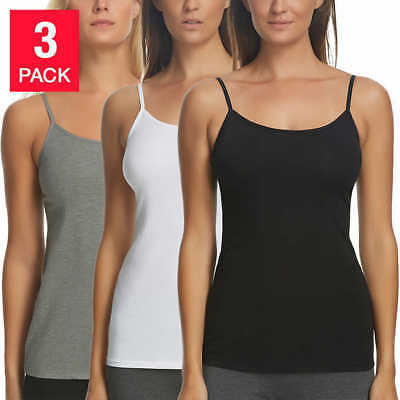 Felina Ladies Camisole, 3-pack - BLACK (Select Size) * FAST SHIPPING *