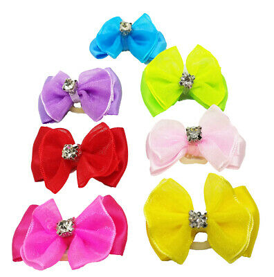Mixed Hair Bows w/Rubber Bands For Small Dog Cat Pet Rhinestone Grooming Bow