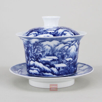 Hand painted snow scene Chinese Blue and white porcelain gaiwan tea cup 250cc