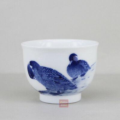Hand painted Chinese Jingdezhen Blue and White Porcelain Tea Cup Handmade 90ml