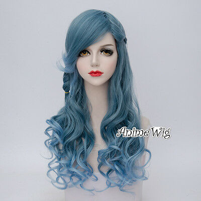 Lolita Women Fashion 60CM Gray Blue Mixed  Long Curly Party Cosplay Wig+Cap