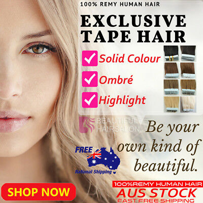 """16""""-20"""" 6A TAPE IN 100% Remy Human Hair Extensions 20/40pcs Brown Blonde Black"""