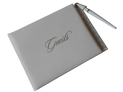 Guest Book for WEDDING CELEBRATIONS - WITH PEN & HOLDER  SILVER & WHITE