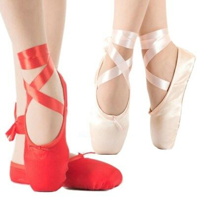 Ballet Pointe Dance Toe Shoes Womens Ladies Girl Professional Satin Canvas Shoes