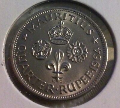 1964 Mauritius 1/4 Rupee Coin - KM# 36 - Very strong details  (#JAN370)