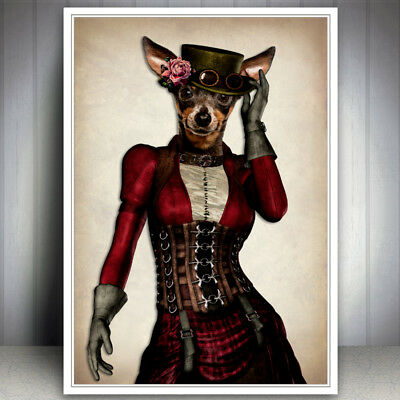 Chihuahua Dog Vintage Steampunk Hipster Dapper Print Picture Vintage Wall Art