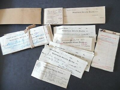 Lot of 100+ 1930s Simpson Kansas State Bank Checks Used & Unused