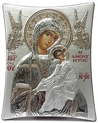 Virgin Mary With Baby Jesus Byzantine Icon Silver 925 Gold Plated 24k Orthodox