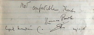 Lennox Pawle Film Star (David Copperfield Mgm 1935) Autograph Dated 1905 .