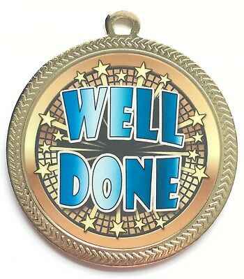 Large 60 mm Well Done Personalised Gold Coloured Medal with Ribbon