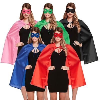Adult Unisex Superhero Fancy Dress Halloween Costume Cape And Eye Mask 4 Colours