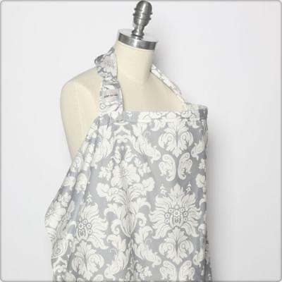 Bebe Au Lait Premium 100% Cotton Nursing Cover - Chateau Silver