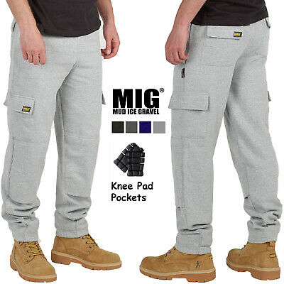 Mens Combat Cargo Work Tracksuit Jogging Bottoms Knee Pad Pockets By MIG - 023