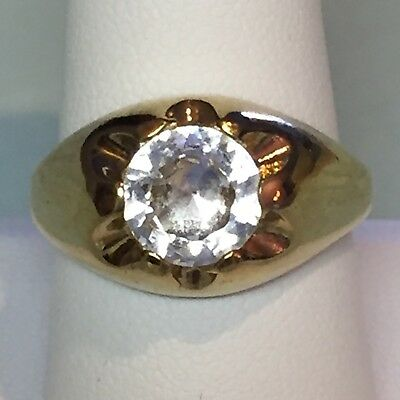 Mens Ring 9Mm Clear Round Stone Ring Size 8.75 18Kt Hge Gents Jewelry Fashion