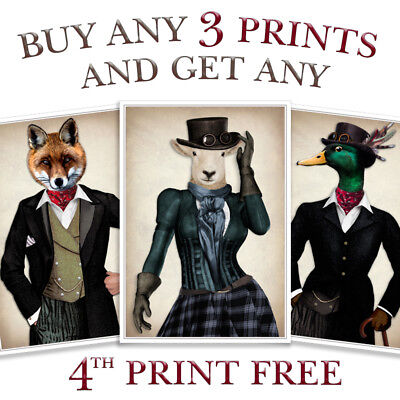 Vintage Steampunk Hipster Dapper Animal Print Picture Vintage Wall Art Poster