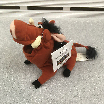 """Disney Lion King 3 Promotional Pumbaa Beanie Soft Toy 8"""" with tag"""