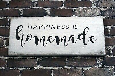 """HAPPINESS IS HOMEMADE - Rustic Sign 16"""" long Distressed White Farmhouse Style"""