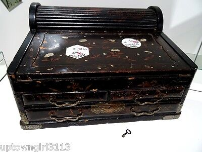 1700s or 1800s CHINESE Tambour WRITING BOX LACQUER gentleman SEA CAPTAIN scarce