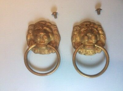 Pair Of 2 Matching Antique Vintage Lion Head Metal Drawer/Door Pulls Handles