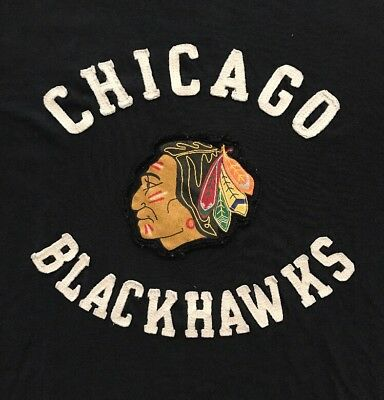 Chicago Blackhawks Nhl Embroidered Logo Black T Shirt Mens Small Euc S