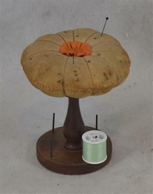 sewing pin cushion table top thread stand turned early antique original 1800