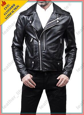 Men's Genuine Lambskin Leather Motorcycle Slim fit Jacket Bomber Biker Jacket