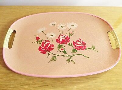 Vintage Tray Handles Mid Century Pink Resin Plastic Hand Painted Roses 1950s