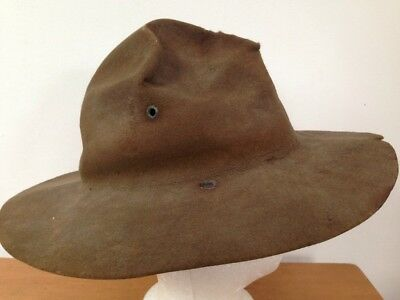 """Vtg BSA Boy Scouts Leader Drill Sergeant USMC Marines Wool Hat Leather Band 23"""""""