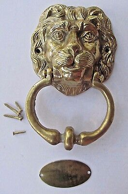 VINTAGE ~ BRASS LION HEAD DOOR KNOCKER With PLATE and SCREWS ~ COMPLETE