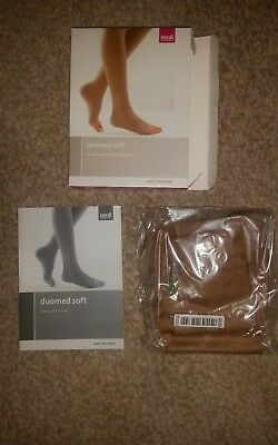 NEW Duomed soft compression calf stocking closed toe Sand CCL1 Size L