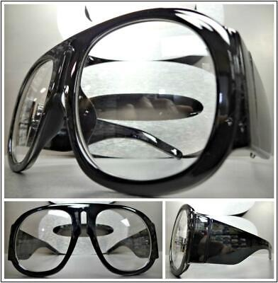 OVERSIZED EXAGGERATED RETRO Style Clear Lens EYE GLASSES Super Thick Black Frame