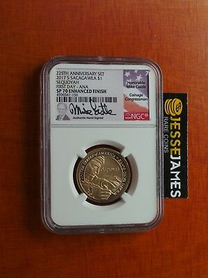 2017 S Sacagawea Dollar Ngc Sp70 Enhanced Finish First Day Issue Ana Mike Castle
