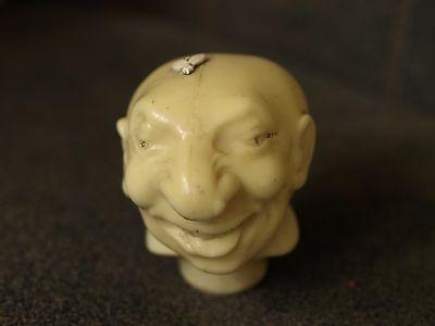 Vintage Walking Stick Cane Head Man with Fly on Head Bee on Head Celluloid Comic