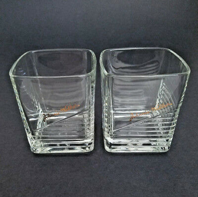 Pair Johnnie Walker Square Bar Glasses With Gold Lettering Logo - Excellent!