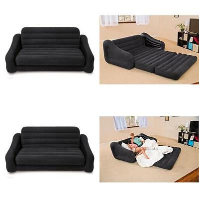 Pull Out Sofa Inflatable Bed Blow Up Air Couch Vinyl Indoor Outdoor Queen Size