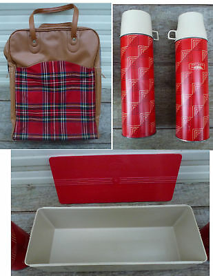 Vintage 2 Thermos + Sandwich Box Picnic Set King Seeley Red Plaid Carry Bag dual
