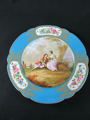 Sevres Chateau des Tuileries Cabinet Plate signed by Watteau c.1846