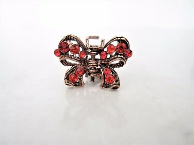 Extra tiny small mini rose gold copper metal bow hair claw clip red crystals